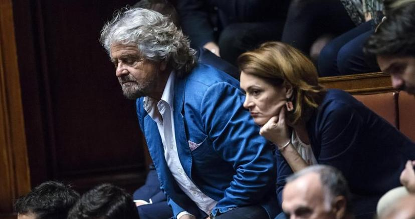 Beppe Grillo arriva alla Camera (Ansa)